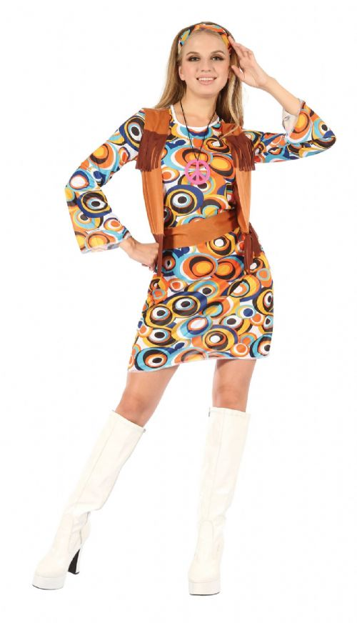 Ladies Hippy Mod Dress with Fringed Vest Costume Hippie Fancy Dress Outfit